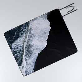 Waves crashing on a black sand beach – minimalist Landscape Photography Picnic Blanket