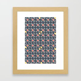 Round Pegs Square Pegs Navy Blue Framed Art Print