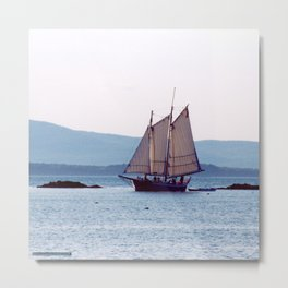 Schooner Sailing into Apple Tree Harbor, Maine Metal Print