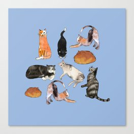 cats cats cats on light blue Canvas Print