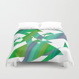 geometrical abstract shapes of green and blue Duvet Cover