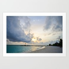 Sunset Maldives Art Print