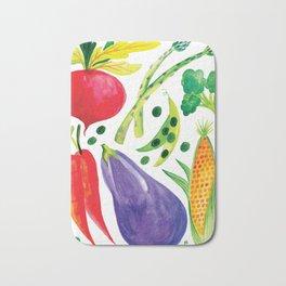 Veg Out - Vegetable, Veggies, Watercolor, Food, Beet, Carrot, Pea Bath Mat