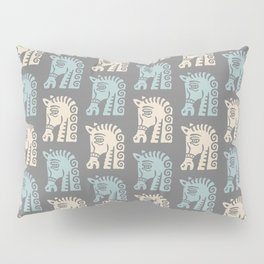 Mid Century Horse Pattern Grey Blue and Beige Pillow Sham