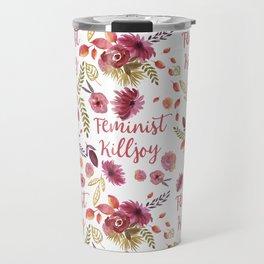 'Feminist Killjoy' cute floral print Travel Mug