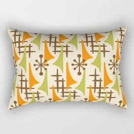 Retro Mid Century Modern Atomic Wing Pattern 426 Brown Orange and Olive Green Rectangular Pillow