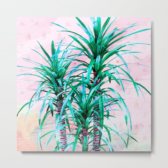Blue palm trees with triangles Metal Print