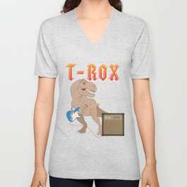 T-Rox T-Rex rocks with guitar Dino Music Gift Unisex V-Neck