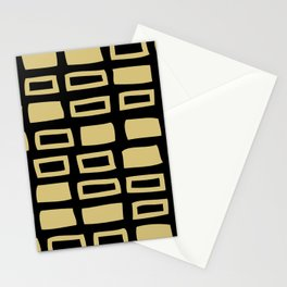 Mid Century Modern Abstract Squares Pattern 541 Black and Gold Stationery Cards