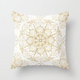 Stylish boho hand drawn golden mandala Throw Pillow