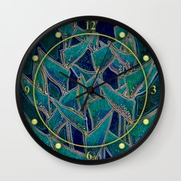 Heliconia Rostrata / Lobster Claw, Twilight Version Wall Clock