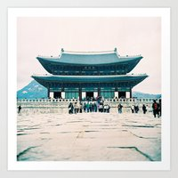 korean Art Prints featuring Korean Palace by blackcoffeeandtantrum