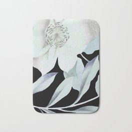 camellia on black Bath Mat