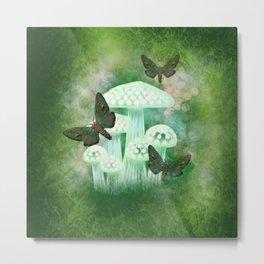 Mossy Moths Metal Print