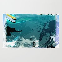 surfing Area & Throw Rugs featuring Surfing by Robin Curtiss