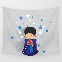 happy birthday Wall Tapestries featuring Happy Birthday by Alessandra Gagliano