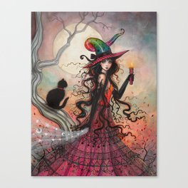 October Flame Halloween Witch and Black Cat Illustration Canvas Print