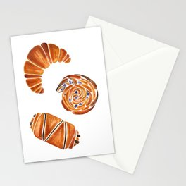 French pastries - croissant, chocolate, rasin Stationery Cards