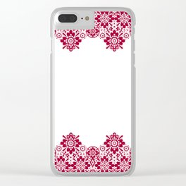 Retro .Vintage . Red lace on a white background . Clear iPhone Case
