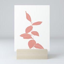 One line plant drawing - Berry Pink Mini Art Print