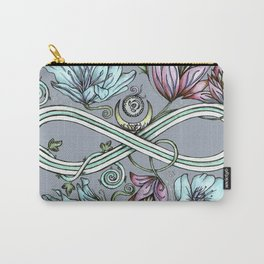 Infinity Floral Moon Garden in Gray Carry-All Pouch