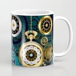 Clock with Gears on Green Background ( Steampunk ) Coffee Mug
