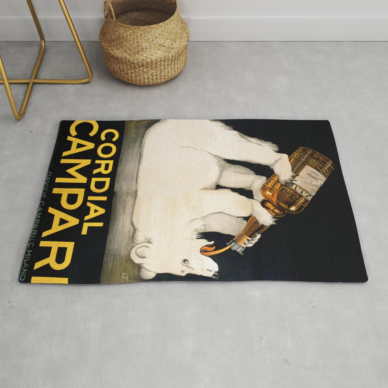 Vintage Polar Bear Liquor Poster Rug by