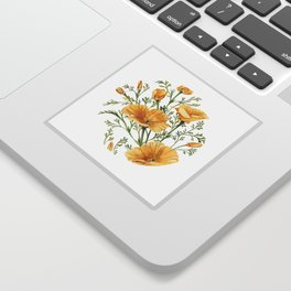 California Poppies - Watercolor Painting Sticker