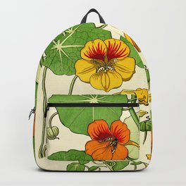 French botanical flower plate - Maurice Verneuil - Capucine Backpack