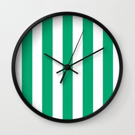Sesame Street Green - solid color - white vertical lines pattern Wall Clock