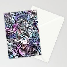 Purple blue watercolor floral hand drawn pattern Stationery Cards