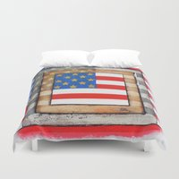 american flag Duvet Covers featuring American Flag by Steve Hester