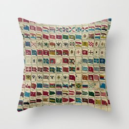 Vintage Naval Flags of The World Illustration Throw Pillow