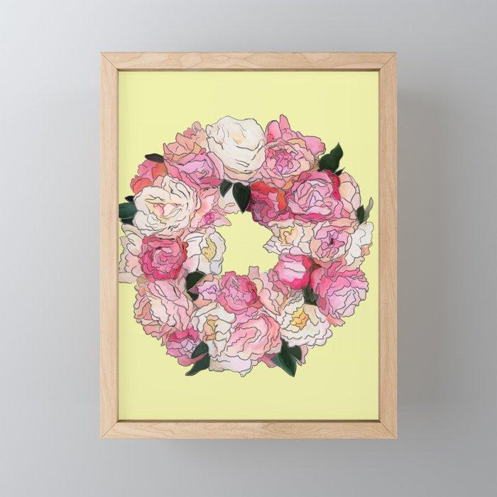 Peony Floral Wreath Painting (yellow) Framed Mini Art Print