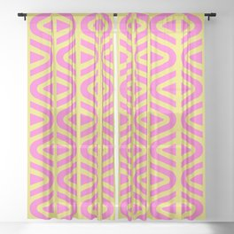 Mid Century Modern Split Triangle Pattern Pink and Yellow Sheer Curtain