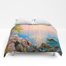 Cote d'azur by the sea Comforters