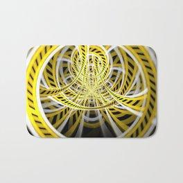 Yellow Tape Roller Coaster Ride on Fractal Rails Bath Mat