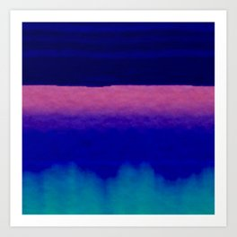 Midnight Blue Pink and Teal Abstract Art Art Print