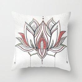 Handmade Watercolor Lotus Mandala Throw Pillow
