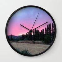 madrid Wall Clocks featuring atardecer Madrid by Maritserg