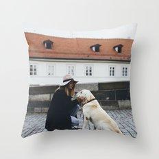 Labrador and a girl Throw Pillow