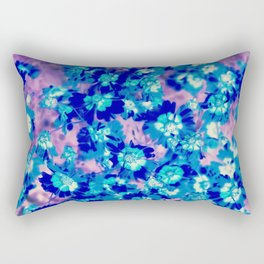 blooming blue flower abstract with pink background Rectangular Pillow