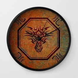Tribal Dragon Head In Octagon With Dragon Chinese Characters Wall Clock