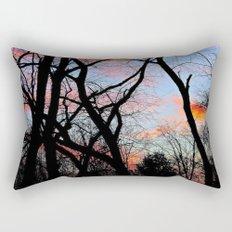 Sunset Through the Tangled Trees Rectangular Pillow