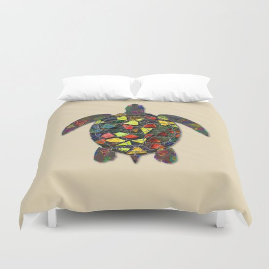 Animal Mosaic - The Turtle Duvet Cover