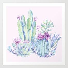 Mixed Cacti Pink #society6 #buyart Art Print