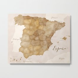 Map of Spain in vintage sepia Metal Print