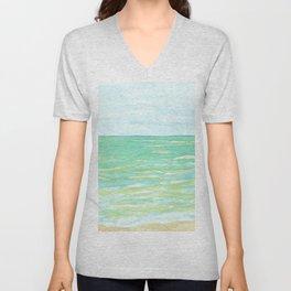 Ocean Mint watercolor seascape mint green Unisex V-Neck