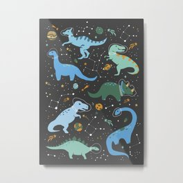 Dinosaurs in Space in Blue Metal Print