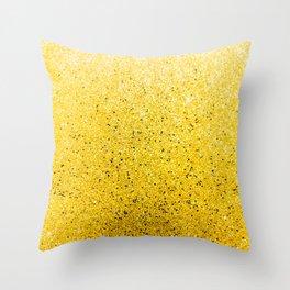 Vibrant Glittery Golden Sparkle Throw Pillow
